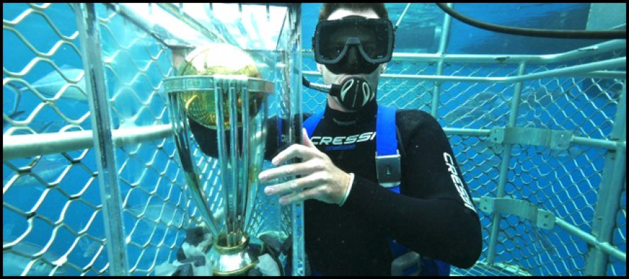 Shaun Tait takes World Cup trophy into deep sea