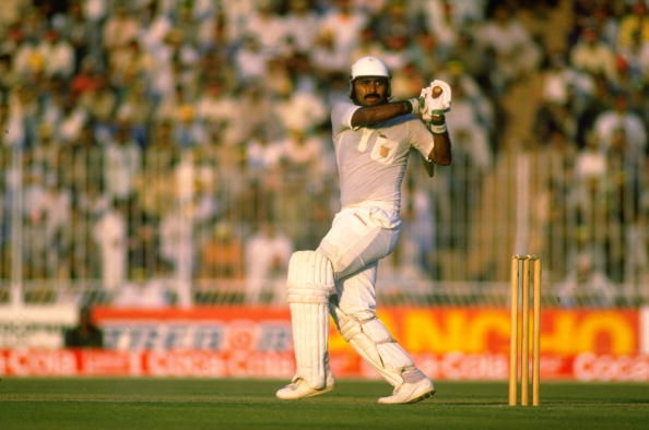 Nov 1987: Javed Miandad of Pakistan in action during the World Cup semi-final against Australia at Gaddafi Stadium in Lahore, Pakistan. Mandatory Credit: Chris Cole/Allsport