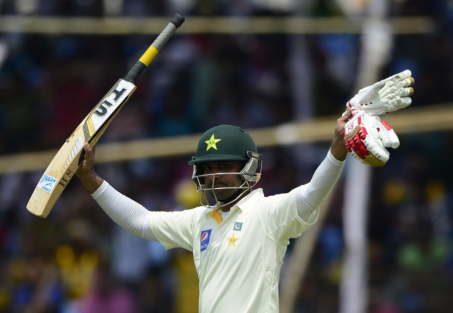 Pakistan cricketer Mohammad Hafeez reacts after scoring a double century (200 runs) during the third day of the first cricket Test match between Bangladesh and Pakistan at The Sheikh Abu Naser Stadium in Khulna on April 30, 2015. AFP PHOTO/Munir uz ZAMAN (Photo credit should read MUNIR UZ ZAMAN/AFP/Getty Images)