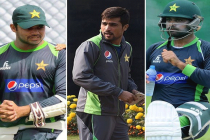 Amir, Hafeez and Azhar at the nets together