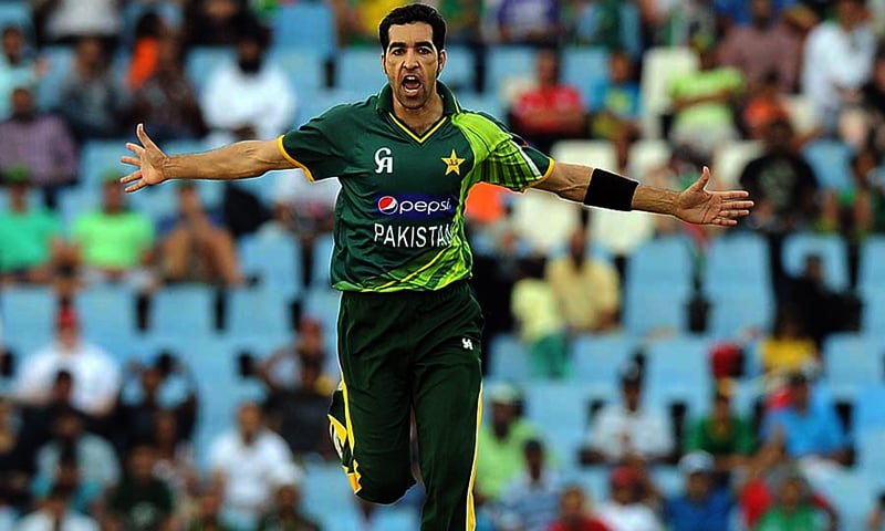 Pakistan's cricketer Umar Gul celebrates the wicket of South-African captain cricketer Faf du Plessis (unseen) during a T20 cricket match between South-Africa and Pakistan, in Centurion at SuperSport Park on March 3, 2013. AFP PHOTO / ALEXANDER JOE (Photo credit should read ALEXANDER JOE/AFP/Getty Images)