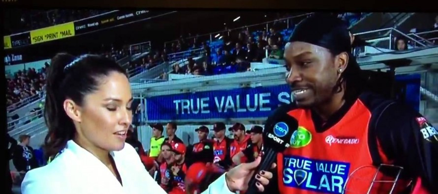 Gayle sorry for live TV chat up 'joke'