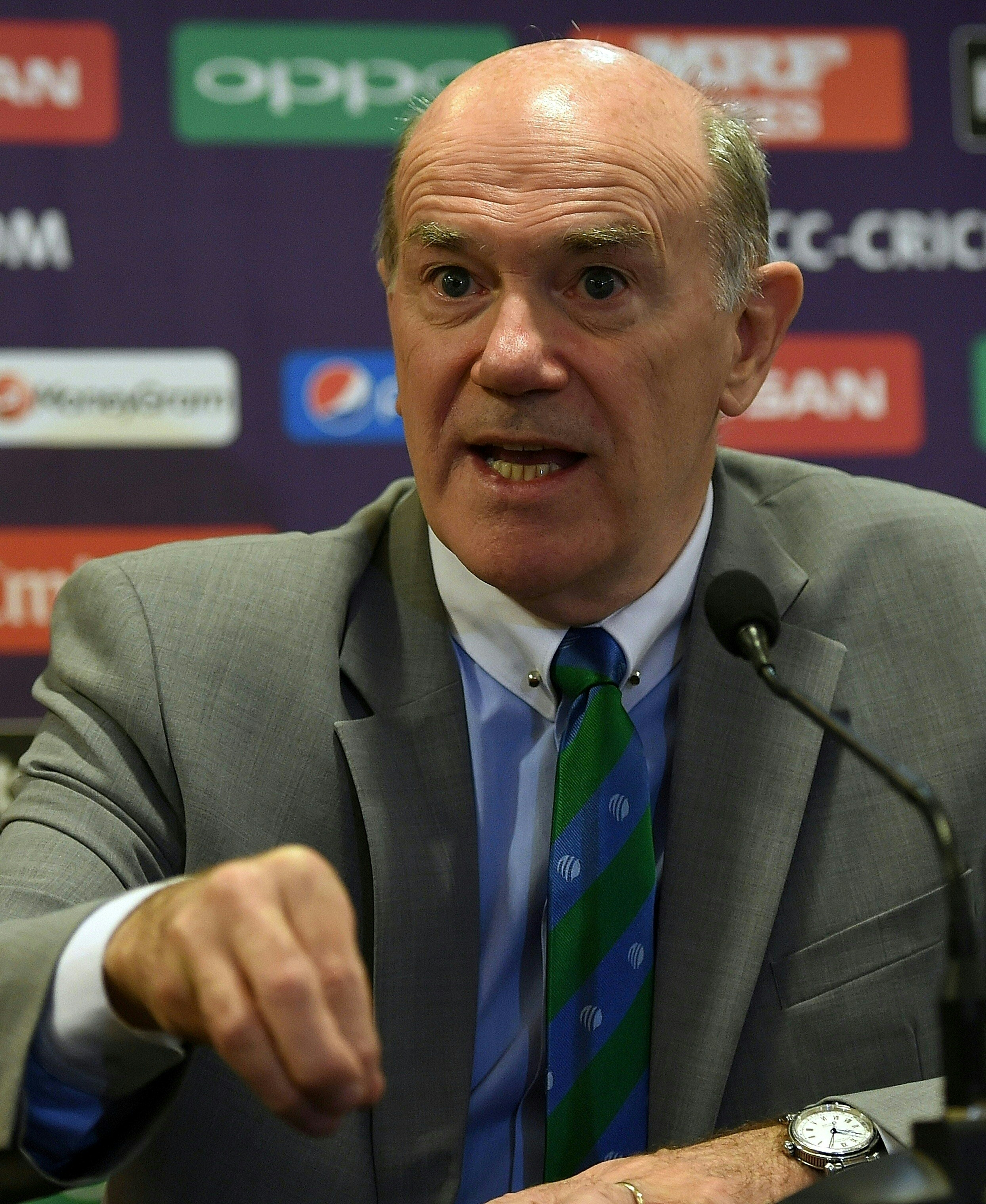 The head of anti-corruption and security at International Cricket Council (ICC) Ronnie Flanagan speaks during a news conference in the Indian city of Mumbai on March 6, 2016. The 27-day ICC T20 Cricket World Cup begins in India from March 8, 2016 and will be played across Bangalore, Chennai, Dharamsala, Kolkata, Mohali, Mumbai, Nagpur and New Delhi. / AFP / PUNIT PARANJPE