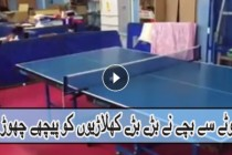 A kid plays table tennis in a skillful fashion