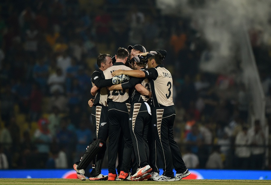 New Zealand's players celebrate after winning the World T20 cricket tournament match against India at The Vidarbha Cricket Association Stadium in Nagpur on March 15, 2016. / AFP / PUNIT PARANJPE        (Photo credit should read PUNIT PARANJPE/AFP/Getty Images)