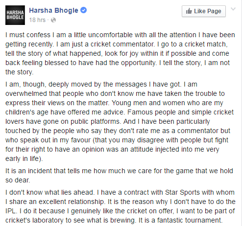 Harsha Bhogle- Facebook