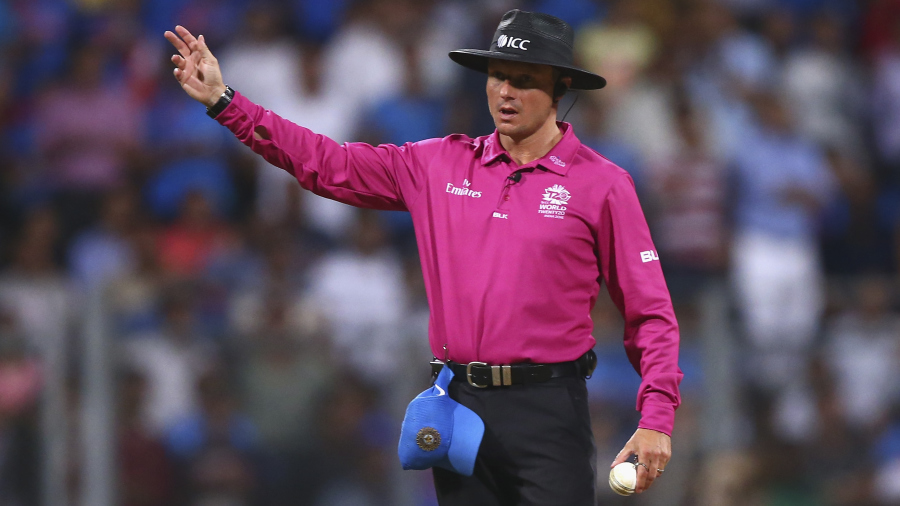 MUMBAI, INDIA - MARCH 31:  Umpire Richard Kettleborough calls a no ball after Lendl Simmons of the West Indies was caught off thr bowling of Ravichandran Ashwin of India during the ICC World Twenty20 India 2016 Semi Final match between West Indies and India at Wankhede Stadium on March 31, 2016 in Mumbai, India.  (Photo by Ryan Pierse/Getty Images)