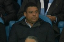 Brazilian Ronaldo watches on from the stands at the Etihad