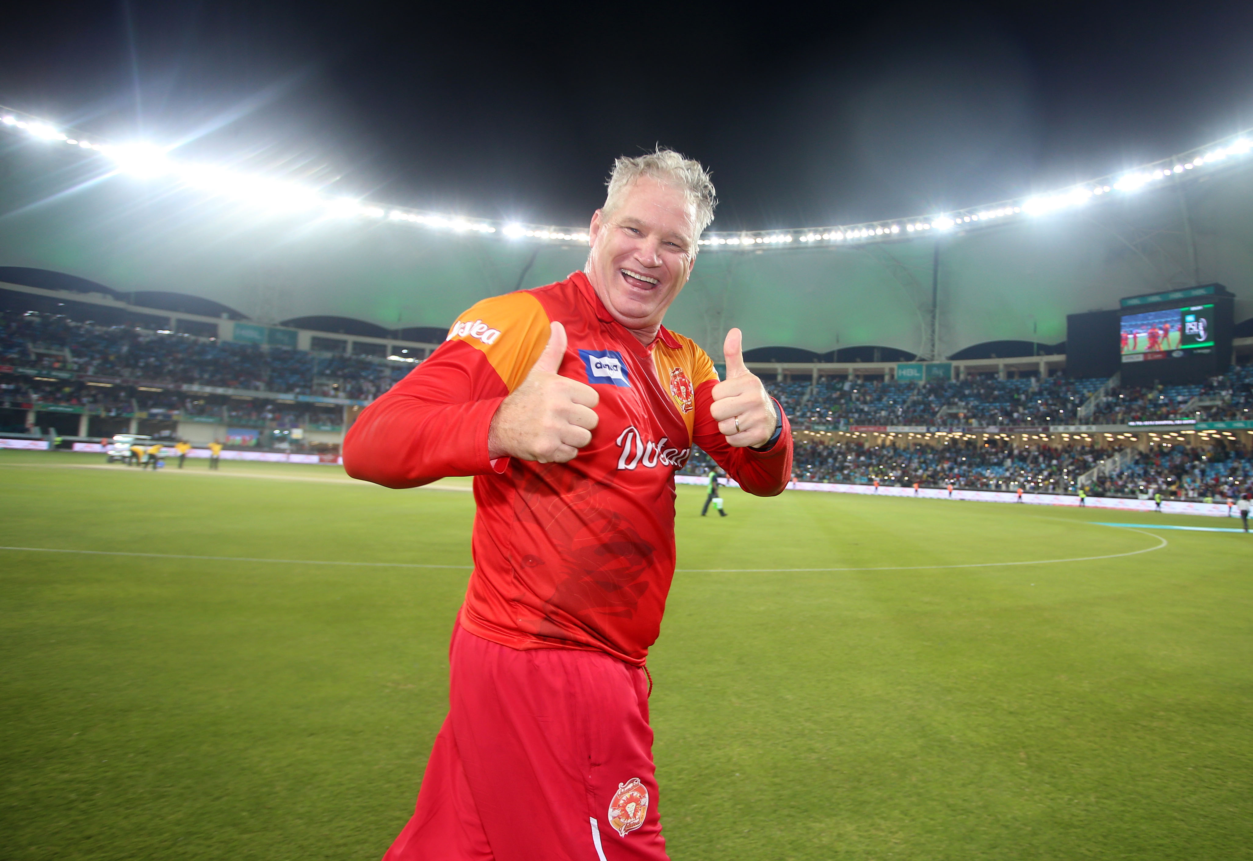 Pic by Chris Whiteoak/whiteoakpictures CRICKET: Pakistan Super League. Final: Islamabad United v Quetta Gladiators. International Cricket stadium, Dubai. United celebrate the win. Dean Jones