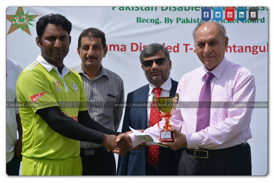 Altaf Ahmed (Man of the Match) against Federal Area's of Shama Disabled T-20 Pentangular Cup 2016 t National Stadium Karachi.