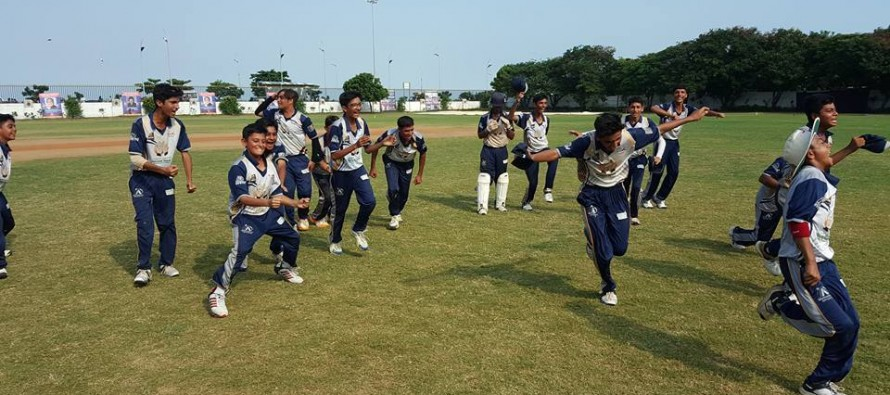 Young Pakistani cricketers celebrate their win with press-ups in India
