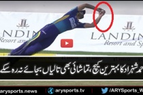 Ahmed Shehzad takes a brilliant diving catch to get rid of Shane Watson.