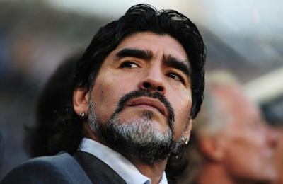Argentina v Germany: 2010 FIFA World Cup - Quarter Finals...CAPE TOWN, SOUTH AFRICA - JULY 03:  Diego Maradona head coach of Argentina looks on ahead of the 2010 FIFA World Cup South Africa Quarter Final match between Argentina and Germany at Green Point Stadium on July 3, 2010 in Cape Town, South Africa.  (Photo by Shaun Botterill - FIFA/FIFA via Getty Images)