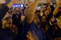 Chicago baseball fans celebrate historic Cubs win