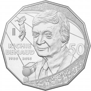 This handout photo released by the Royal Australian Mint on November 25, 2016 shows a 50-cent coin with the face of the former Australian Test captain and broadcaster Richie Benaud. (PHOTO: AFP)