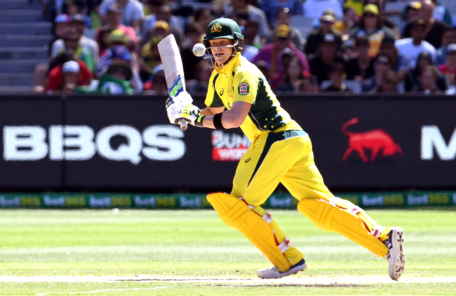 Australia's captain Steve Smith steers a delivery away from the Pakistan bowling during their ODI played at the MCG in Melbourne on 15 January, 2017. (PHOTO: AFP)
