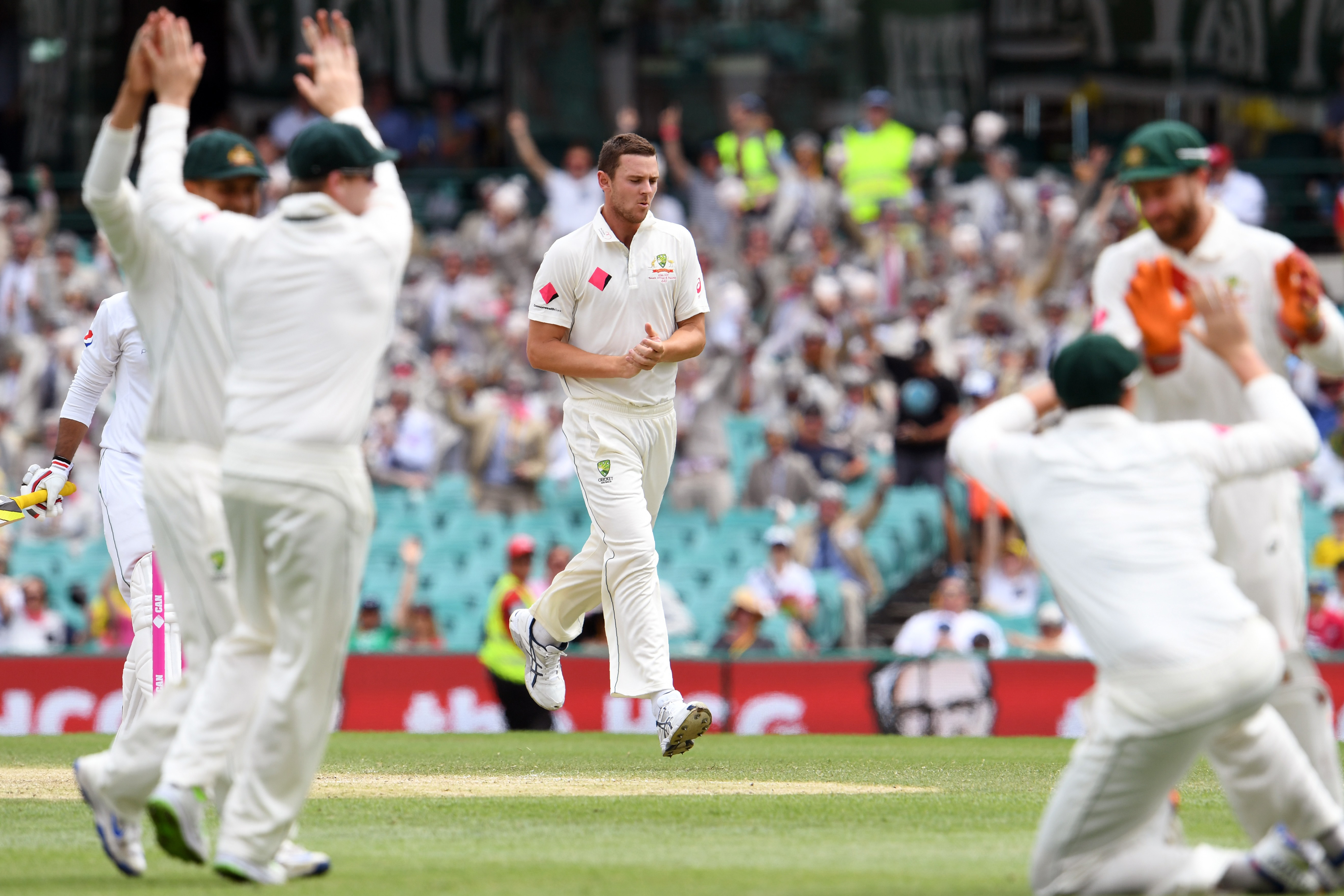 Australia's paceman Josh Hazlewood (C) and teammates celebrate dismissing Pakistan's batsman Sharjeel Khan during the second day of the third cricket Test match at the SCG in Sydney on January 4, 2017. / AFP PHOTO / William WEST / -- IMAGE RESTRICTED TO EDITORIAL USE - STRICTLY NO COMMERCIAL USE --