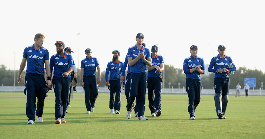 ABU DHABI, UNITED ARAB EMIRATES - NOVEMBER 08: England leave the field after winning the tour match between Hong Kong and England at Zayed Cricket Stadium Nursery Ground on November 8, 2015 in Abu Dhabi, United Arab Emirates. (Photo by Gareth Copley/Getty Images)