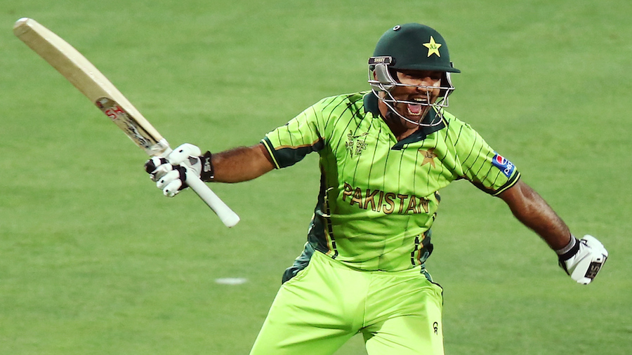 ADELAIDE, AUSTRALIA - MARCH 15: Sarfaraz Ahmed of Pakistan celebrates after reaching 100 runs during the 2015 ICC Cricket World Cup match between Pakistan and Ireland at Adelaide Oval on March 15, 2015 in Adelaide, Australia. (Photo by Morne de Klerk/Getty Images)