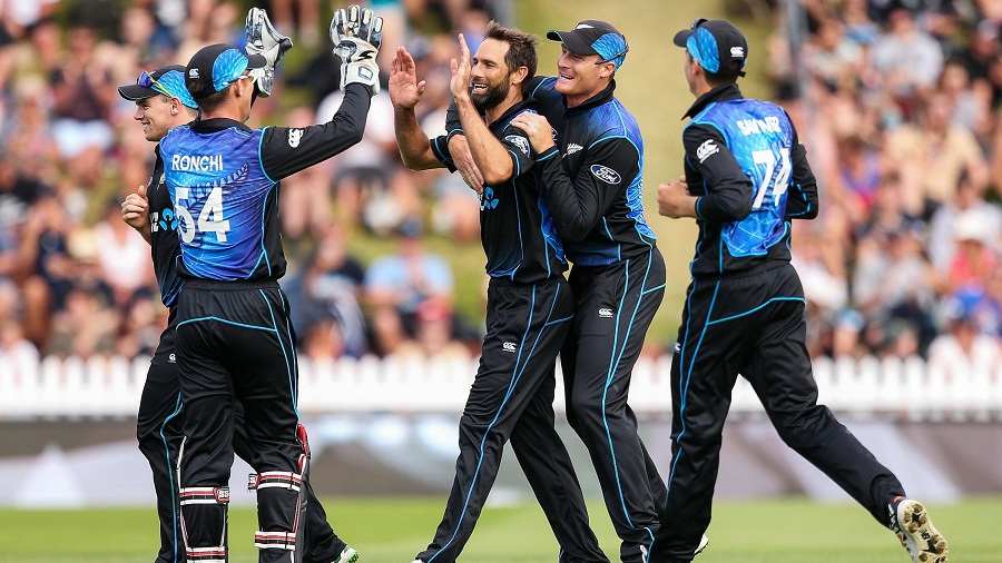during the One Day International match between New Zealand and Pakistan at Basin Reserve on January 25, 2016 in Wellington, New Zealand.