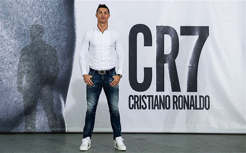CR7 by Cristiano Ronaldo Underwear Launch...MADRID, SPAIN - OCTOBER 31:  Cristiano Ronaldo poses in front of a 19m high billboard during the global launch of the CR7 by Cristiano Ronaldo Underwear line at the Palacio de Cibeles on October 31, 2013 in Madrid, Spain. CR7 by Cristiano Ronaldo is available worldwide from 1st November 2013 from www.cr7underwear.com  (Photo by David Ramos/Getty Images  for CR7)