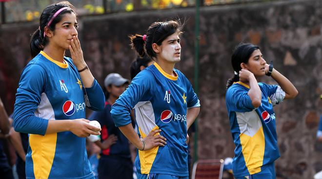 Pakistan women cricket team players during a training session, a day before their World Cup T-20 match aagainst India, at Ferozeshah Kotla stadium in New Delhi on March 18th 2016. Express photo by Ravi Kanojia.