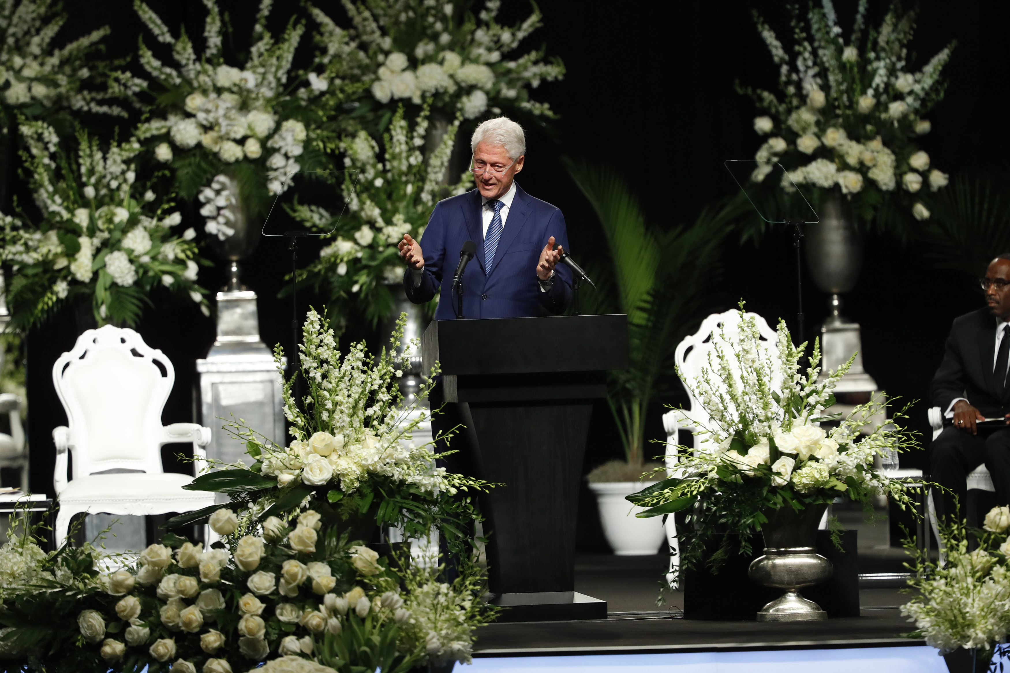 LOUISVILLE, KY - JUNE 10: President Bill Clinton speaks during a memorial service for boxing legend Muhammad Ali on June 10, 2016 at the KFC Yum! Center in Louisville, Kentucky. Ali died June 3 of complications from Parkinson's disease.   Aaron P. Bernstein/Getty Images/AFP