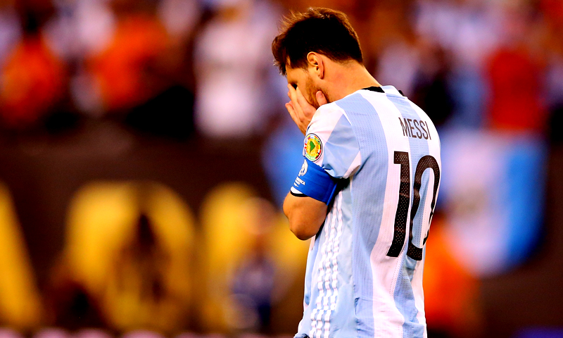 This file photo taken on June 26, 2016 shows Lionel Messi #10 of Argentina reacting after missing a penalty kick against Chile during the Copa America Centenario Championship match at MetLife Stadium in East Rutherford, New Jersey. (PHOTO: AFP)
