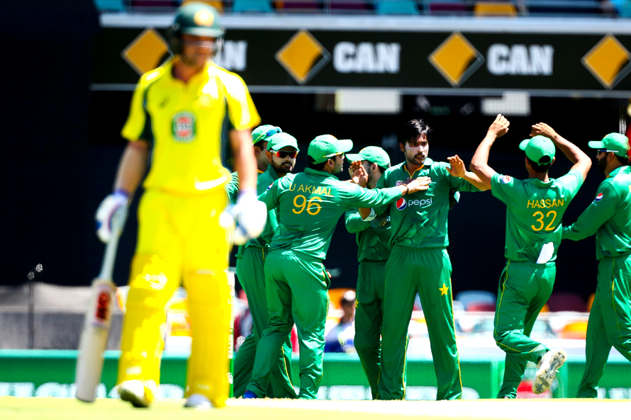 Mohammad Amir celebrates the wicket of David Warner during the first ODI in Brisbane. (PHOTO: AFP)