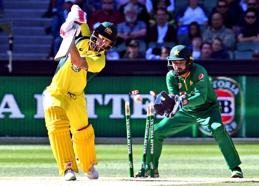 Matthew Wade is bowled. (PHOTO: AFP)