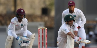 """ROSEAU: An unbeaten 85 by Azhar Ali and 55 from Babar Azam put Pakistan in a solid position at 169 for two at stumps on a rain-shortened first day of the third and final Test against the West Indies at Windsor Park in Dominica on Wednesday. Fresh from a workman-like first innings century despite defeat in the second Test, Ali was again a model of composure in progressing towards another significant innings after over five hours at the crease during which he faced 219 deliveries, stroking two sixes and seven fours. His confidence dented after enduring the indignity of a """"pair"""" in that loss in Barbados, Azam was less assured at the start of his innings and needed a generous slice of luck to get to his second half-century of the series. Leg-spinner Devendra Bishoo should have claimed his wicket but the right-hander, on 28, was badly missed by wicketkeeper Shane Dowrich just as play resumed in the early afternoon following the first of two stoppages for a steady, persistent drizzle. That lapse added to the increasing list of costly errors in the field for the West Indies during this 2017 international season in the Caribbean as the pair extended their second-wicket partnership to 120 when Azam eventually departed in a long final session, offering a simple catch to Kieran Powell at first slip off Alzarri Joseph. Younis Khan, who together with captain Misbah ul Haq is playing his farewell Test, will resume in partnership with Ali on the second morning, weather permitting. Further compounding the home side's woes after Jason Holder won the toss and chose to bowl first in heavily overcast conditions was the lack of potency of his prime opening bowler, Shannon Gabriel. Although economical, Gabriel could not recapture the hostility that wrecked Pakistan's second innings on the final day of the second Test in Barbados. Sharing the new ball with Gabriel, Joseph was completely out of sorts in his first spell, prompting the introduction of Roston Chase's off-spin within the first"""
