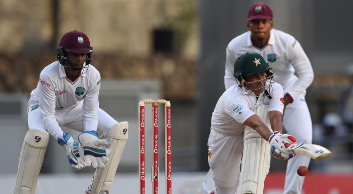 ROSEAU: An unbeaten 85 by Azhar Ali and 55 from Babar Azam put Pakistan in a solid position at 169 for two at stumps on a rain-shortened first day of the third and final Test against the West Indies at Windsor Park in Dominica on Wednesday. Fresh from a workman-like first innings century despite defeat in the second Test, Ali was again a model of composure in progressing towards another significant innings after over five hours at the crease during which he faced 219 deliveries, stroking two sixes and seven fours. His confidence dented after enduring the indignity of a