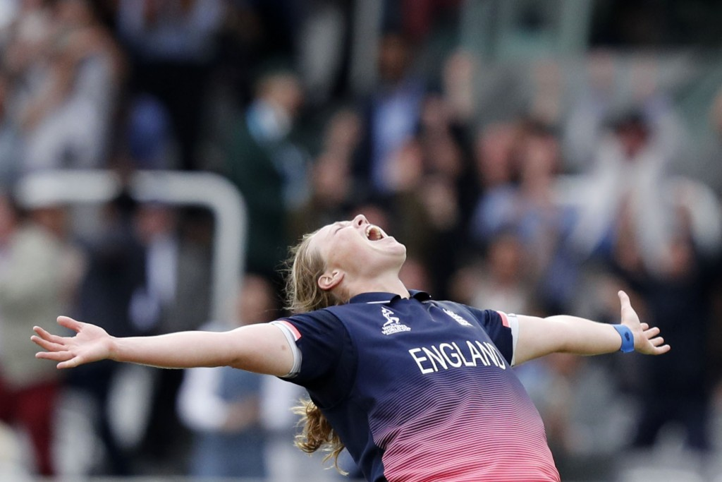 Anya Shrubsole celebrates as she takes the wicket of Rajeshwari Gayakwad  - AFP