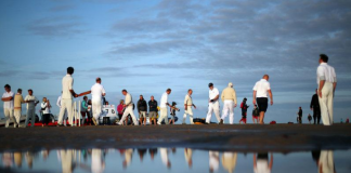 Anyone for cricket - in the middle of the sea?