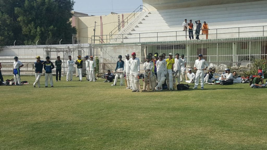 Budding cricketers gathered at Niaz Stadium, Hyderabad, for the the trials