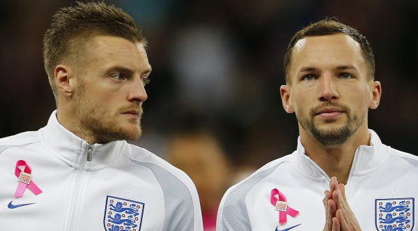Jamie Vardy (L) and Danny Drinkwater (L)