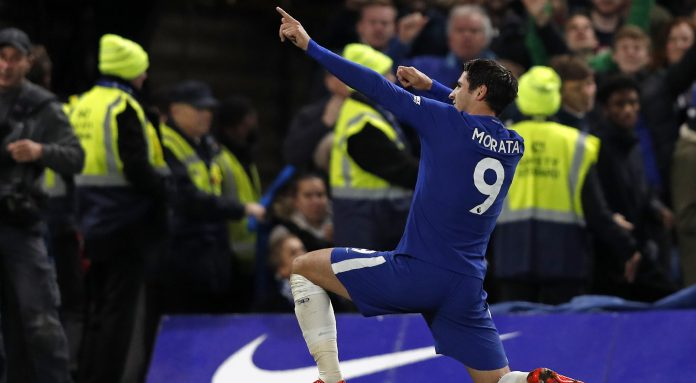 Morata strikes as Chelsea derail United title bid