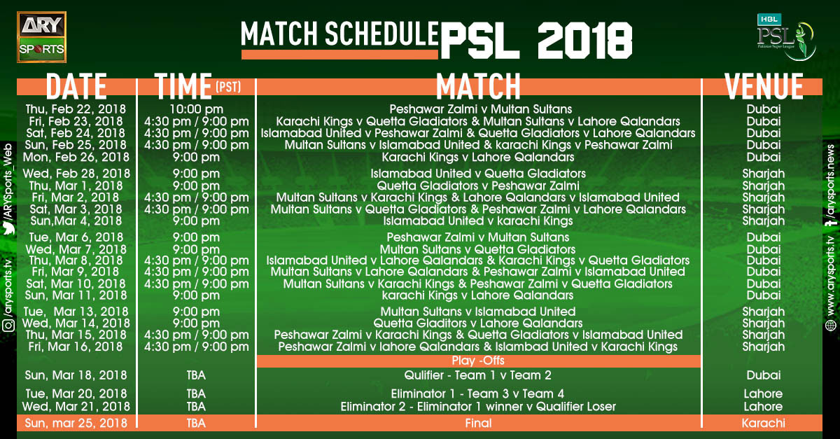 PSL Schedule - ARYSports.tv