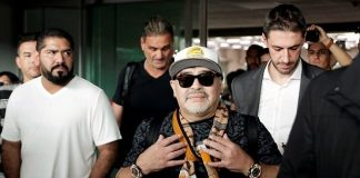 Dozens of fans laud Maradona's arrival in Mexico