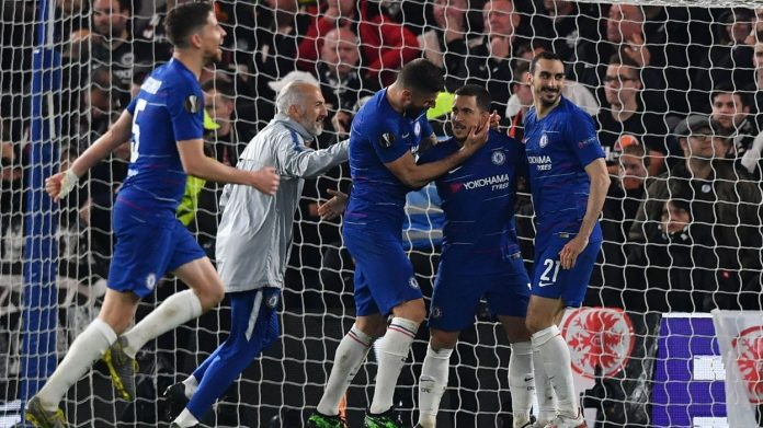 Hazard nets winning penalty as Chelsea reach Europa final