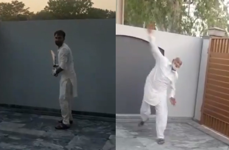Watch: Bilal Asif playing indoor cricket with his father